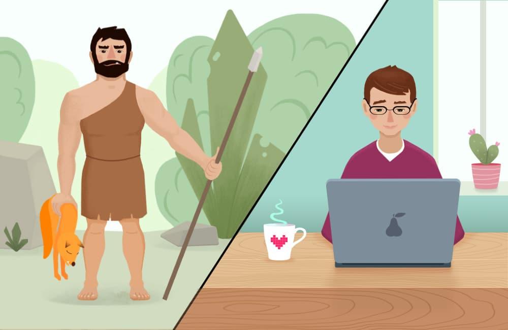 Evolution of caveman to the modern man