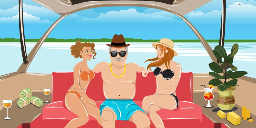 How to invest in gold - Old retired guy on a yacht with hotties.