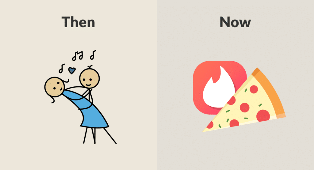 Couple dancing vs Tinder/pizza