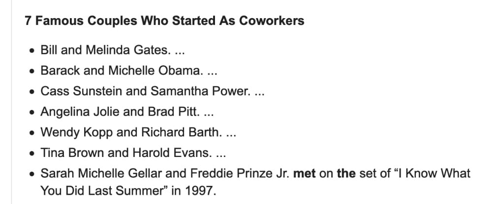 Screenshot of famous couples who met in the workplace.