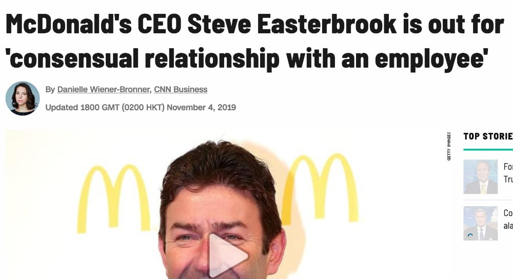 Screenshot of Huffington Post article on McDonalds CEO.