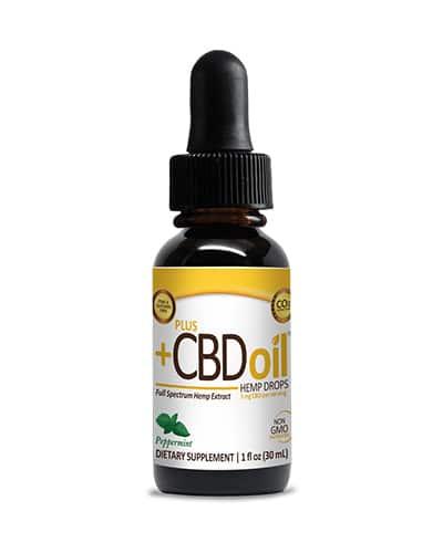 Product photo of Plus CBD tincture oil.
