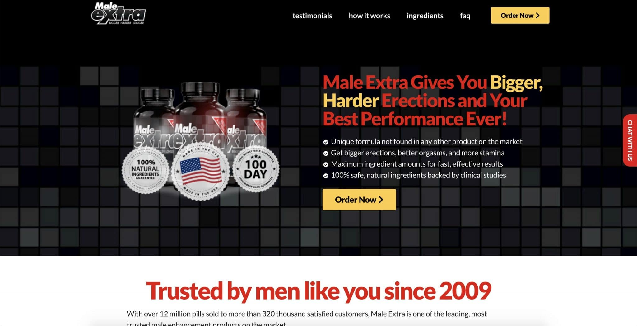 Screenshot of Male Extra website.