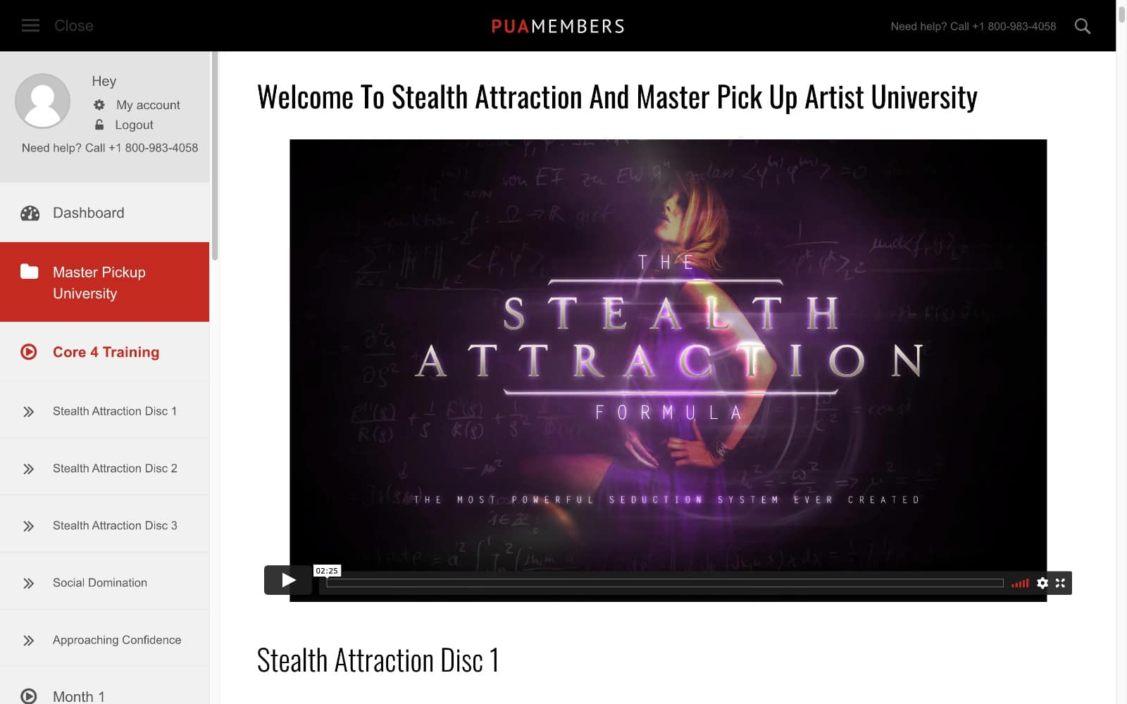 Stealth Attraction Review - Screenshot of the members area.